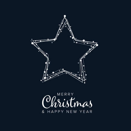 Minimalist Christmas flyer card temlate with white snowflakes on a star shape and dark background Illustration