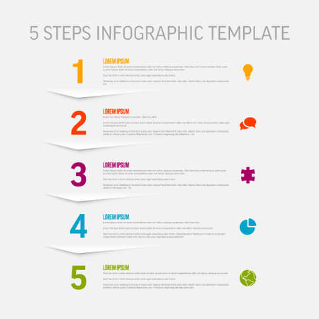 One two three four five - vector light vertical progress steps template with descriptions and icons Illustration
