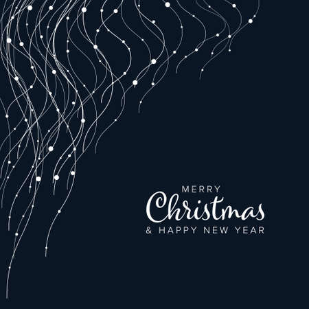 Minimalist Christmas flyer card temlate with white abstract lights on vertical wavy lines