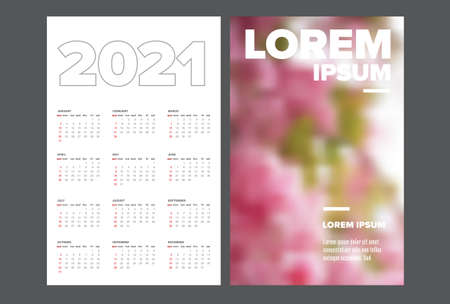 Business card size 2021 calendar template - front and back side Illustration