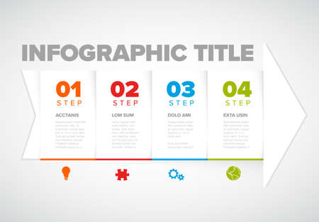 One two three four - vector white arrow progress steps template with colorful descriptions and icons