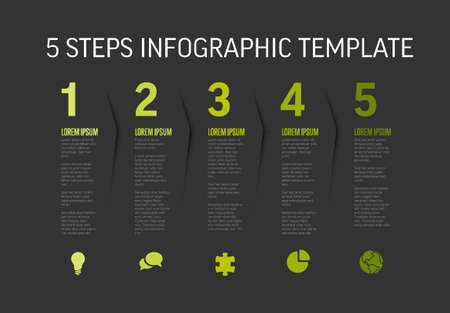 One two three four five - vector dark progress steps template with descriptions and icons Illustration