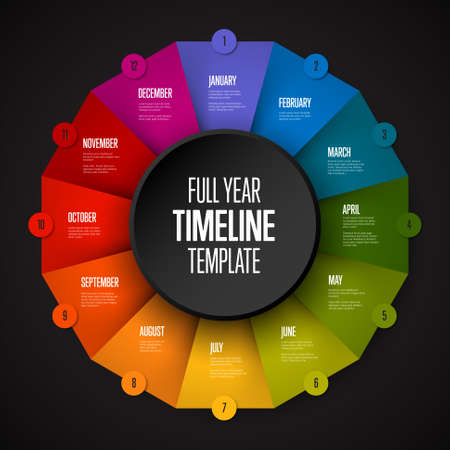 Full year timeline template with all months on circle folded rainbow papers - dark color version