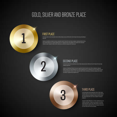Gold, silver and bronze prize medal award with winner names on dark background Illustration