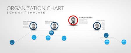 Minimalist company organization hierarchy chart schema template - light 3D version with photos