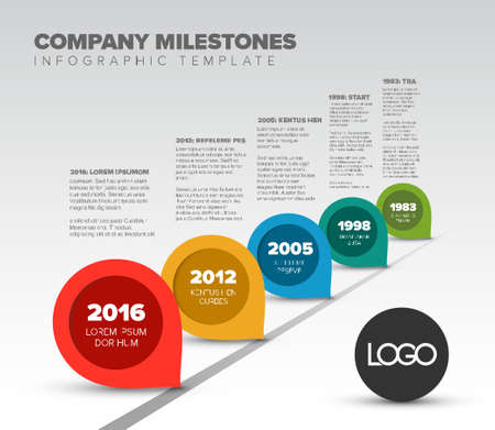 Vector Infographic Company Milestones Timeline Template with pointers on the road