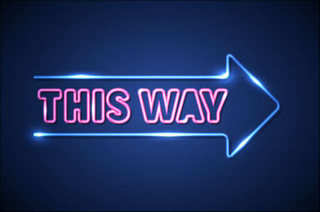Blue neon arrow on a dark blue background showing the right way direction