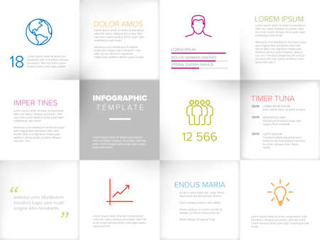 Multipurpose mosaic infographic made from white content squares with icons numbers and texts
