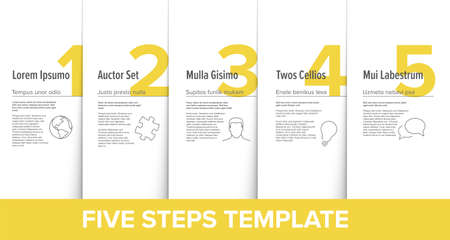 One two three four five vector light yellow progress steps template with descriptions and icons