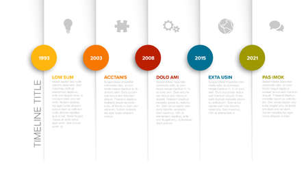 Simple timeline template with color icons and descriptions Illustration