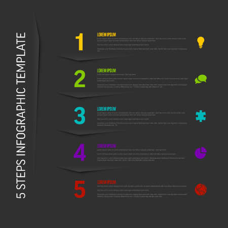 One two three four five - vector dark vertical progress steps template with descriptions and icons Illustration