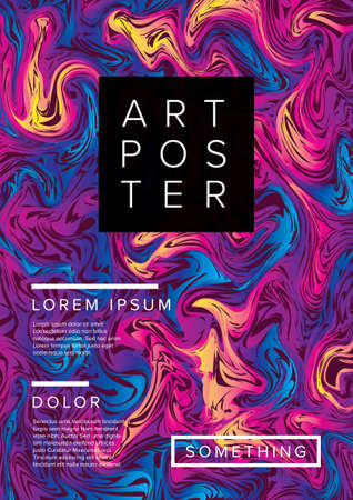 Modern vector art poster template for art exhibition, gallery, concert or dance party with abstract oil marble pattern