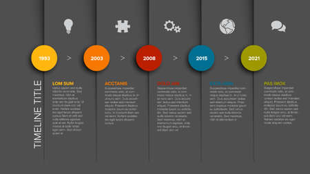 Simple timeline template with color icons and descriptions - dark gray version