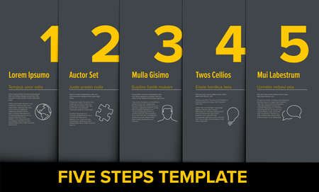 One two three four five vector light yellow progress steps template with descriptions and icons - dark version