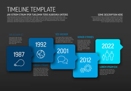 Vector Infographic blue horizontal timeline template made from arrow square bubbles and icons - dark blue version