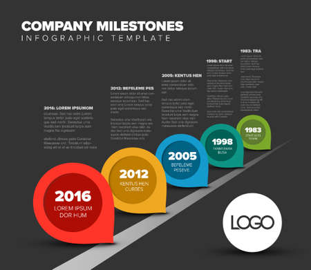 Vector Infographic Company Milestones Timeline Template with pointers on the road - dark version Illustration