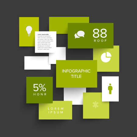 Vector green flat design infographic made from content blocks with shadow, data and icons