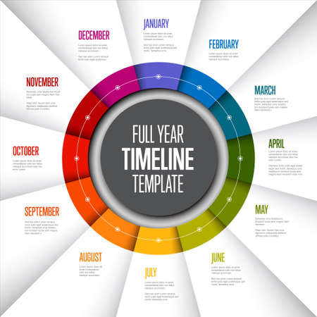 Full year timeline template with all months on circle folded rainbow papers