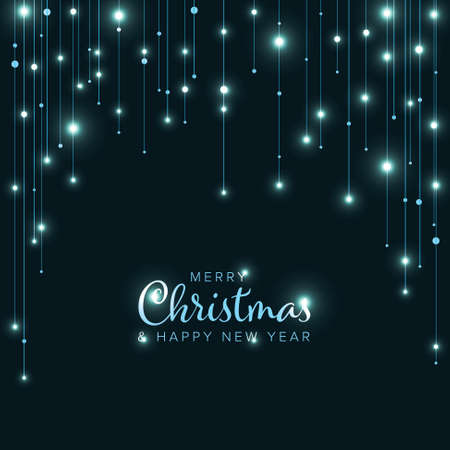 Minimalist Christmas flyer card temlate with chilly blue light chains on dark background Illustration