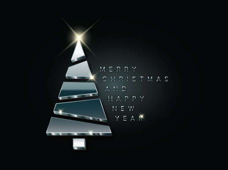 Simple vector christmas card with abstract blue chrome silver christmas tree made from blocks - original new year card