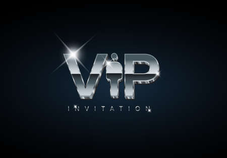 Vector VIP club membership invitation template - silver chrome premium version