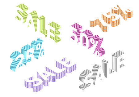 Collection of sale tags with percentage discount made from layered isometric texts