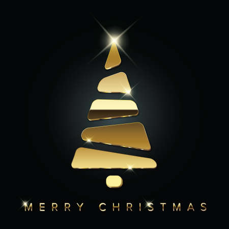 Simple vector christmas card with abstract golden christmas tree made from blocks - original new year card Illustration