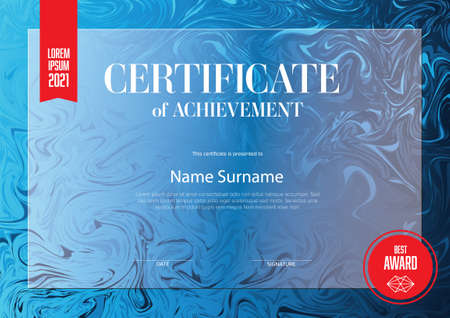 Modern art certificate of achievement template with place for your content - horizontal blue and red colors version