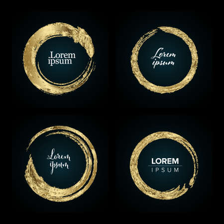 Set of vector golden brush rings with sample texts as a sign, tag, sale or graphic element