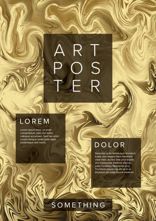 Modern vector art poster template for art exhibition, gallery, concert or dance party with abstract golden marble pattern Illustration