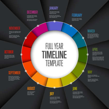 Full year timeline template with all months on circle folded rainbow papers - dark version
