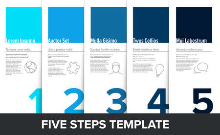 One two three four five vector light progress steps template with descriptions and icons - shade of blue version