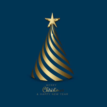 Christmas card with christmas tree made from golden spiral stripes with golden star on the top on dark blue background