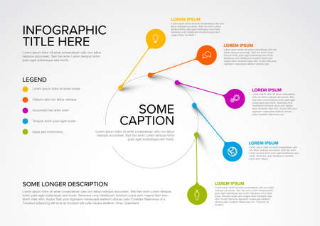 Vector multipurpose Infographic template made from pointers on circle path with icons, descriptions and legend