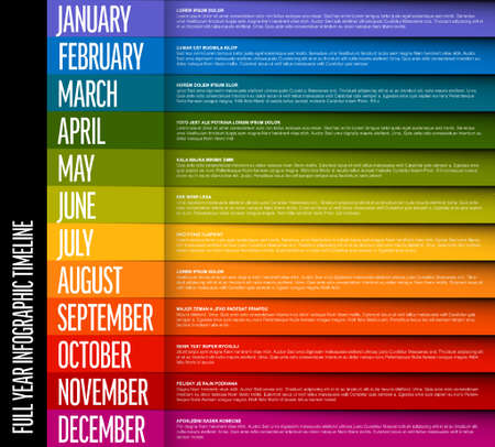 Full year timeline template with all months each on colorful line with shadow and content text