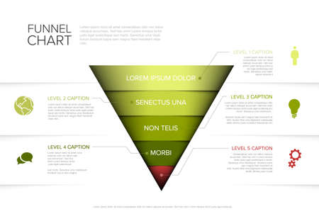 Vector Infographic 5 level layers funnel template with descriptions - reverse pyramid template on light background
