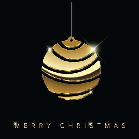 Simple vector christmas card with abstract golden christmas bulb decoration made from blocks - original new year card