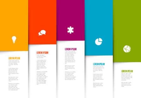 Five graph elements infographic template - each column element contains icon, title and description