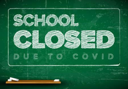 School closed due to covid flyer lettering on school blackboard