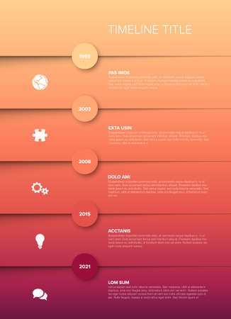 Simple timeline template with icons and descriptions - red gradient version