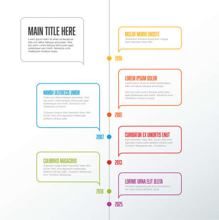 Vector vertical infographic timeline template with thin line color bubbles