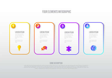 Vector light progress steps template with descriptions, icons and thin color line border