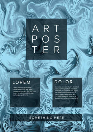 Modern vector art poster template for art exhibition, gallery, concert or dance party with abstract blue silver marble pattern