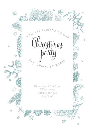 Vector vintage hand drawn Christmas party invitation template with various seasonal shapes - ginger breads, mistletoe, cone, nuts Illustration