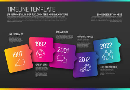 Vector Infographic horizontal timeline template made from arrow square bubbles and icons - dark color gradient version