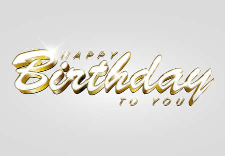 Happy birthday retro vector illustration with big golden letters on light background