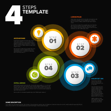 Vector dark progress steps template with descriptions, icons and circles