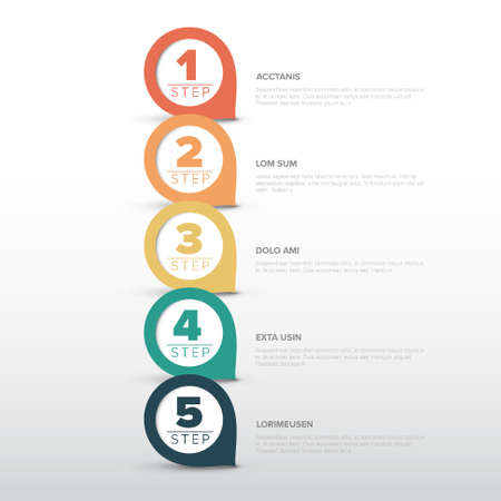 One two three four five - vector progress template with five steps and description - vertical version