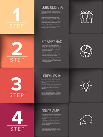 Multipurpose mosaic four steps infographic made from orange, red and gray content squares with icons numbers and texts