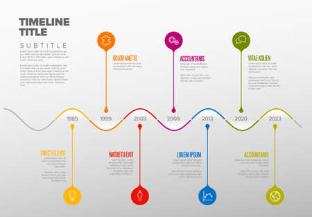 Colorful vector infographic timeline report template with droplet bubbles pins on curved timeline Ilustracja